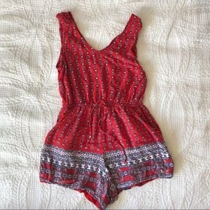 Pants - Bright Red Print Jumpsuit / Romper EUC